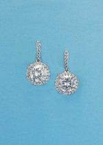 """Cubic Zirconia/Silver Top Baguette Round Stone Post 1"""" Earring"""