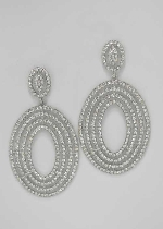 "Clear/Silver Small/Big Oval Shape Post 1.5"" Earring"