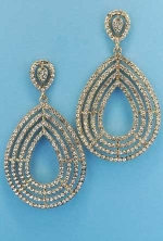 """Clear/Gold Pear Shape Small Round Stone 3"""" Post Earring"""