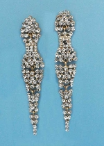 """Clear/Gold Round Stone Center Square 3"""" Post Earring"""
