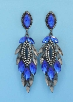 "Sapphire/Black Diamond Hematite Marquise Shape 3"" Post Earring"