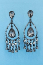 "Black Diamond/Hematite Multiple Dangle Rows Pear/Round Shape 3"" Post Earring"