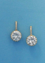 """Cubic Zirconia/Gold Top Baguette Bottom Round Stone 1"""" Post Earring"""