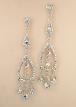 AB Silver Long Dangle Pear Shape post Earring
