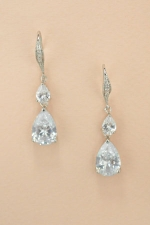 Cubic Zirconia/ Silver Double Teardrop Dangle Paved Fish Hook Earring