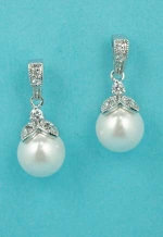 "Cubic Zirconia/Pearl Silver Tomato Shape 1"" Post Earring"