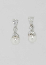 """Cubic Zirconia/Pearl Silver Top Flower Bottom Round Pearl 1"""" Earring"""