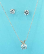 """Clear Rose Gold Round Stone 0.3"""" Earring Set"""