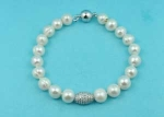 Cubic Zirconia/Pearl One Row Center Oval Shape Bracelet