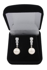 Cubic Zirconia/White Pearl/Silver 3 Round Stone Earring With Pearl Dangle