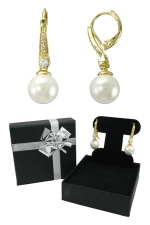 Cubic Zirconia/Gold Pearl Fish Hook Earring