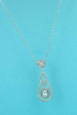 Cubic Zirconia/Silver Round Stone Dangle Necklace