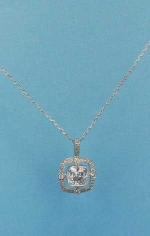 Cubic Zirconia/Silver Two Square Shape Necklace