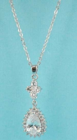 Cubic Zirconia/Silver Top Flower Bottom Pear Stone Necklace