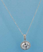 Cubic Zirconia/Silver Single Oval Necklace