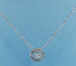 Cubic Zirconia/Silver Circle Shape Middle Round Stone Necklace