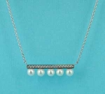 Pearl/Clear Silver Center Baguette Pearl Necklace