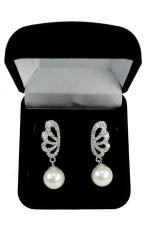 Cubic Zirconia/Silver Butterfly Earring With Pearl Drop