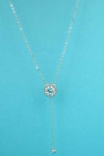 Cubic Zirconia Silver Round Halo Pendant With Dangle Chain Necklace