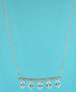 Cubic Zirconia/Silver Center Baguette Oval Stone Necklace