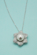 Cubic Zirconia/ Pearl Paved Flower Necklace