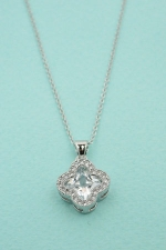 Cubic Zirconia/ Silver Paved Encased Stone Necklace
