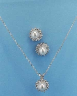 Cubic Zirconia/Pearl Silver Flower Round Shape Necklace