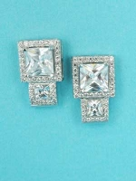 "Cubic Zirconia/Silver Two Square Shape 1"" Post Earring"