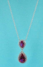 Fuchsia/Clear Silver Two Pear Stone Dangle Necklace
