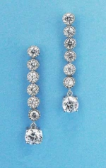 "Cubic Zirconia/Silver Round Stone One Row 1.5"" Post Earring"