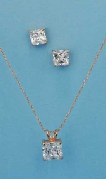 Cubic Zirconia/Rose Gold Multiple Square Stone Set