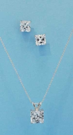 Cubic Zirconia/Silver Square Shape Set