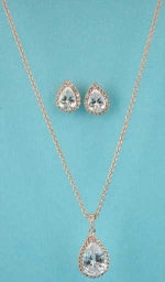 Cubic Zirconia/Rose Gold Small Pear Shape Set
