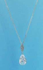 Cubic Zirconia/Silver Top Marquise Shape Bottom Pear Stone Necklace