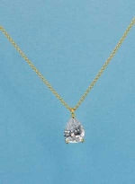 Cubic Zirconia/Gold Single Pear Stone Necklace