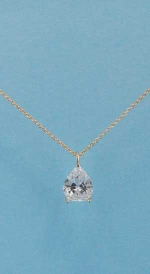 Cubic Zirconia/Rose Gold Pear Stone Necklace