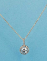Cubic Zirconia/Rose Gold Single Round Stone Necklace