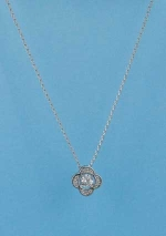 Cubic Zirconia/Silver Single Flower Shape Necklace