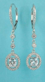Cubic Zirconia/Silver Oval Shape Oval Stone Middle Fish Earring
