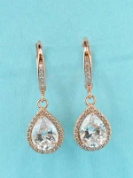 "Clear/Gold Pear/Round Stone 1.5"" Earring"