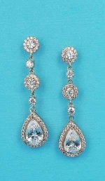 """Cubic Zirconia/Rose Gold Linked Stone Round/Pear 1.5"""" Post Earring"""