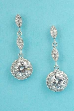 """Cubic Zirconia/Silver Marquise/Round Stone Framed 1"""" Earring"""