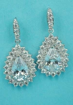 """Cubic Zirconia/Clear Silver Framed Center Pear Stone 1.2"""" Earring"""