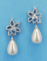 "Cubic Zirconia/Pearl Top Leaves Bottom Drop Pearl 1"" Earring"