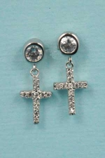 "Cubic Zirconia/Silver Cross/Round Stone Dangle Post 0.5"" Earring"