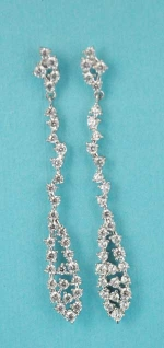 """Cubic Zirconia/Silver Multiple Round Stone 2"""" Post Earring"""