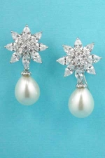 "Cubic Zirconia/Pearl Flower Shape 1"" Post Earring"