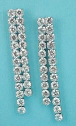 """Cubic Zirconia/Silver Two Row Round Stone 2"""" Post Earring"""