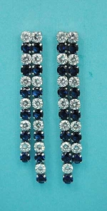 """Montana Navy/Clear Two Rows Round Stone 2"""" Post Earring"""