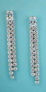 "Cubic Zirconia/Silver Top Emerald Stone 2 Row Round 2.5"" Post Earring"